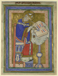 Full-Page Miniature Of St. Dunstan Writing, Extracted From A Commentary On The Rule Of St. Benedict